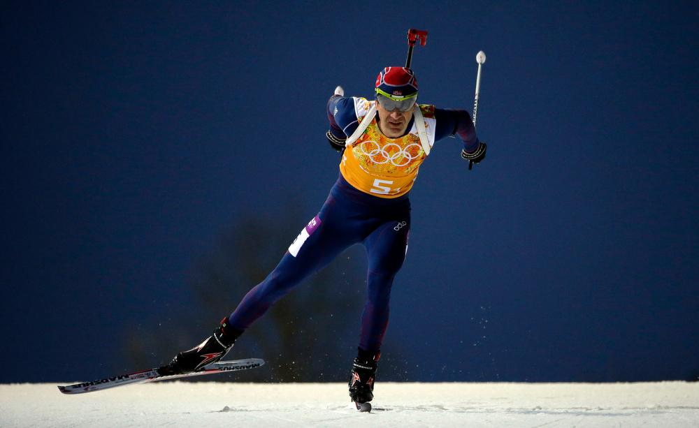. Norway\'s Ole Einar Bjoerndalen competes during the men\'s biathlon 4x7.5K relay at the 2014 Winter Olympics, Saturday, Feb. 22, 2014, in Krasnaya Polyana, Russia. (AP Photo/Felipe Dana)