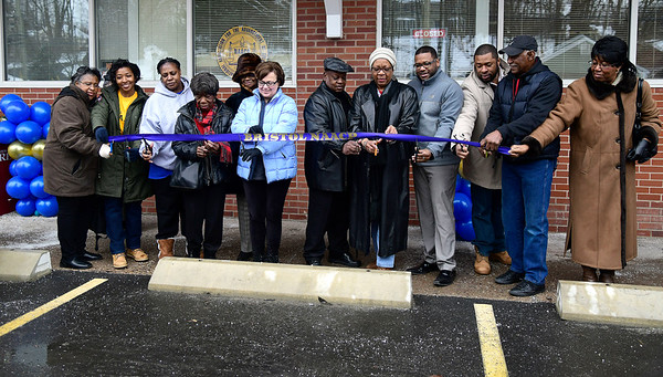 3/2/2019 Mike Orazzi | Staff The ribbon cutting for the NAACP's Bristol office on South Street Saturday morning, led by Bristol Mayor Ellen Zoppo-Sassu and NAACP President Lexie Mangum.