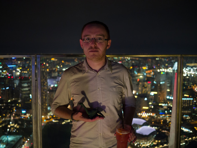 Jonty with Dyno Saur at 1-Altitude, Singapore