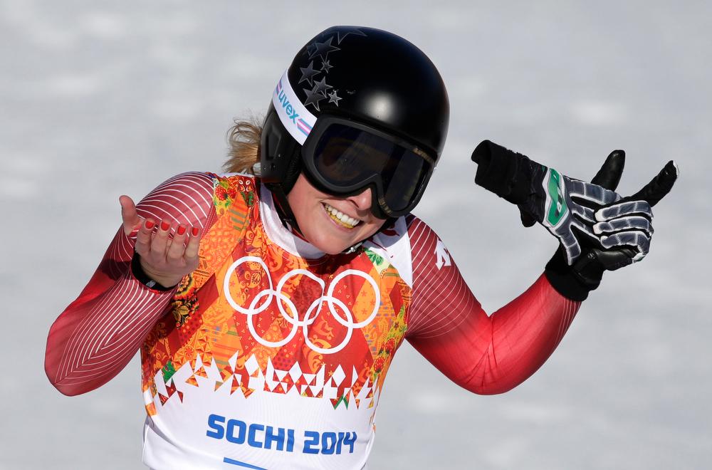 . Switzerland\'s Lara Gut gestures after her run in the women\'s super-G at the Sochi 2014 Winter Olympics, Saturday, Feb. 15, 2014, in Krasnaya Polyana, Russia. (AP Photo/Gero Breloer)