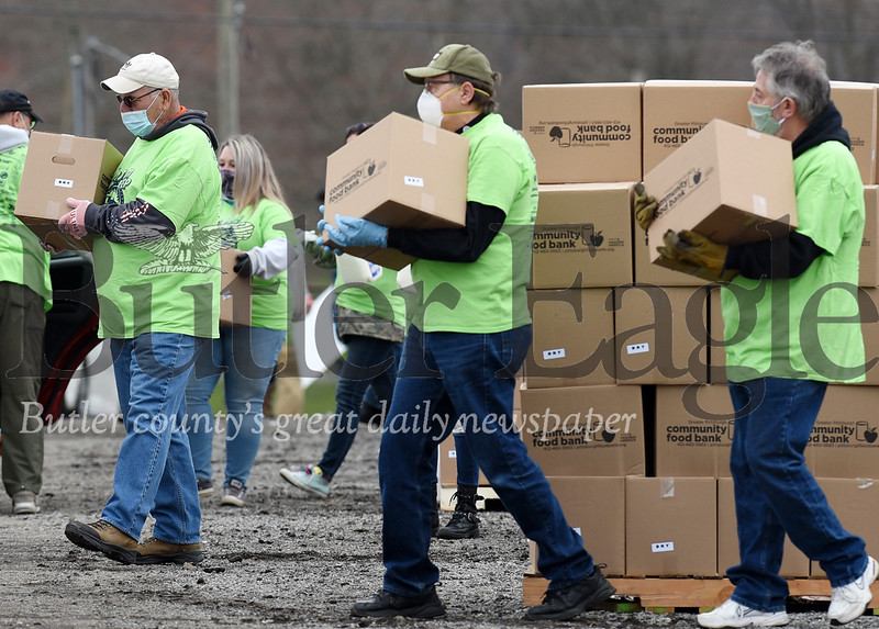 Harold Aughton/Butler Eagle: The Greater Pittsburgh Community Food Bank held a food distribution event at the Big Butler Fairgrounds on Tuesday, April 28, 2020.