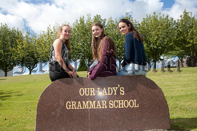 Pictured are Emma Monaghan with 12 A* GRades, Ellen Brown 10A* grades and Shannon McAteer 10 A* grades at GCSE level. R1434012