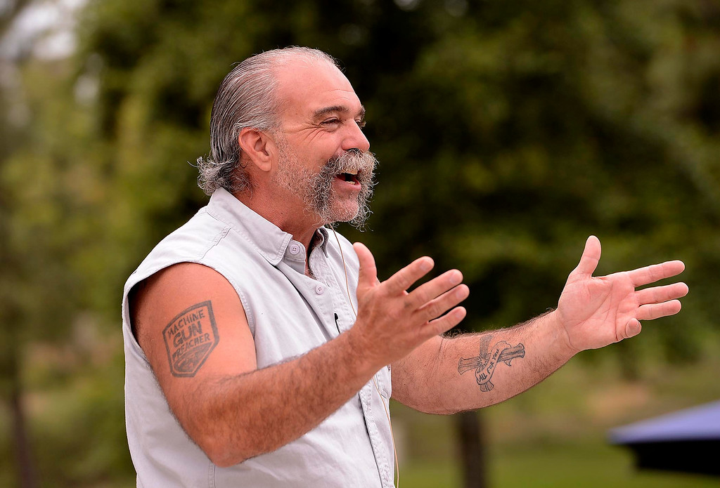 ". �I\'m different from any other missionary that you\'ll ever meet,""  said Sam Childers to a crowd during the Lifepoint Church\'s Picnic at Red Hill Community Park in Rancho Cucamonga May 5, 2013.  GABRIEL LUIS ACOSTA/STAFF PHOTOGRAPHER."
