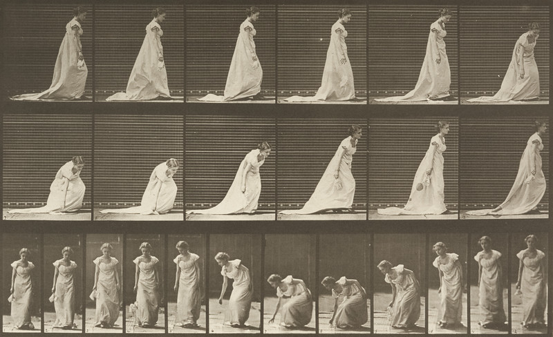 Woman in long dress stooping and lifting a handkerchief (Animal Locomotion, 1887, plate 209)
