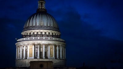 London's St Paul's Cathedral by night
