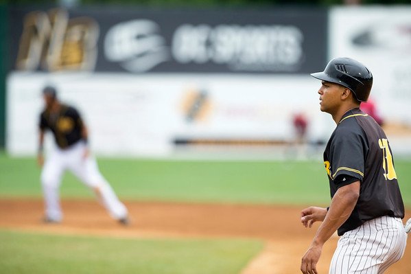 07/18/19 Wesley Bunnell | Staff The New Britain Bees vs the Southern Maryland Blue Crabs in a noon start double header on Thursday July 18, 2019. Jared James (11) on first base.
