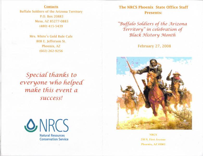 ARIZONA BUFFALO SOLDIERS, MESA, AZ...Natural Resources Conservation Service - State Office, Phoenix, AZ. Buffalo Soldiers of the Arizona Territory.  February 27, 2008