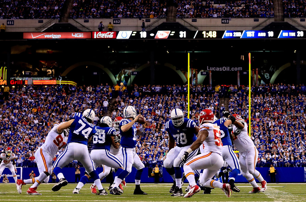 . INDIANAPOLIS, IN - JANUARY 04:  Quarterback Andrew Luck #12 of the Indianapolis Colts drops back to pass against the Kansas City Chiefs during a Wild Card Playoff game at Lucas Oil Stadium on January 4, 2014 in Indianapolis, Indiana.  (Photo by Rob Carr/Getty Images)