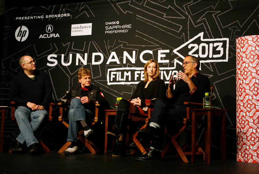 Description of . Salt Lake Tribune film critic, Sean Means, (left) Robert Redford, Sundance Institute director Keri Putnam, and festival director John Cooper (right) talk about this years Festival at the opening press conference of the Sundance Film Festival at the Egyptian theater in Park City, Thursday, January 17, 2013. Rick Egan  | The Salt Lake Tribune