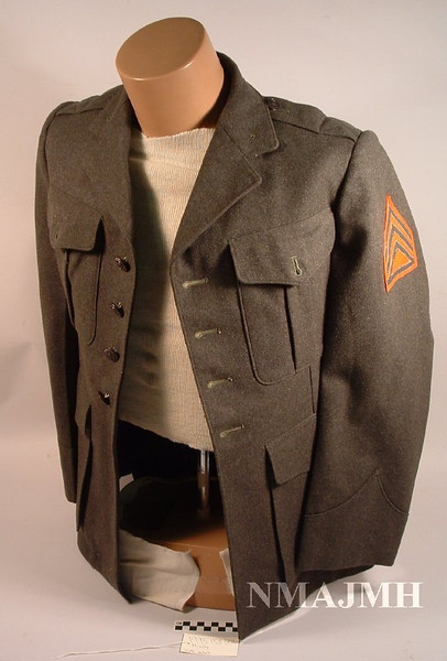 Jacob Joseph Mirsky's WWII USMC Uniform Service Jacket with Staff Sgt. Insignia patches, Olive Green