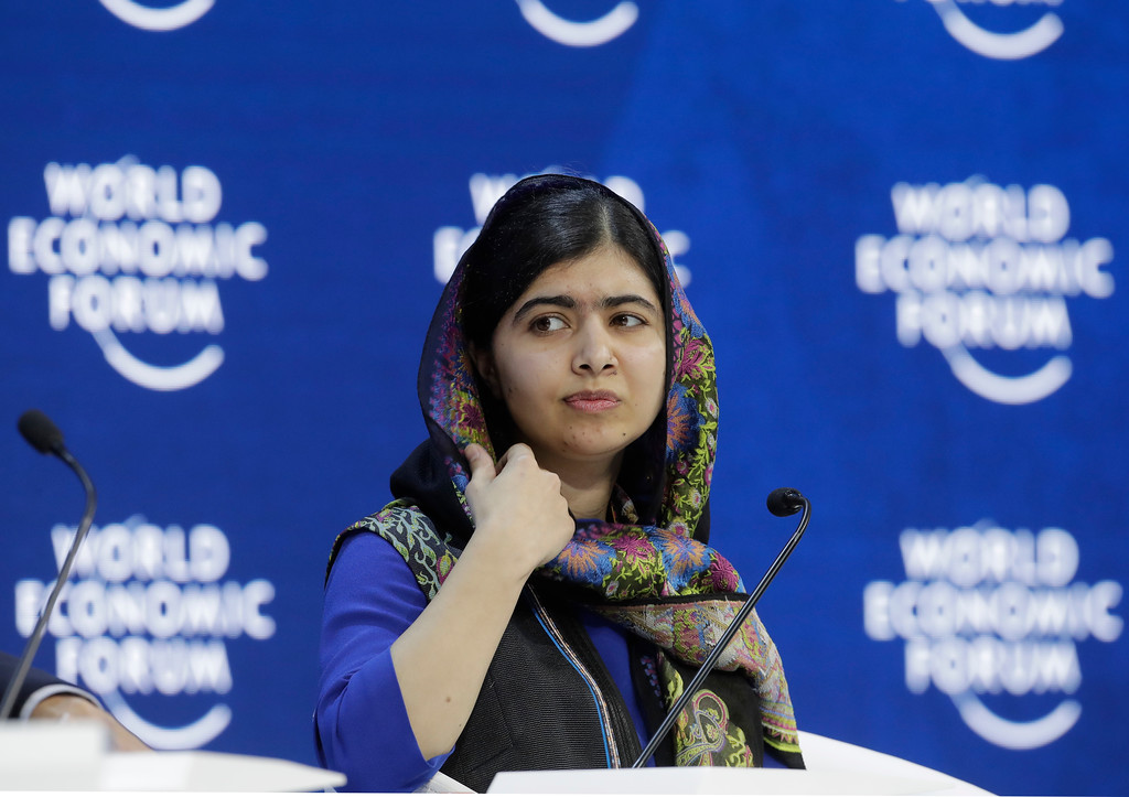 . Nobel laureate Malala Yousafzai attends the annual meeting of the World Economic Forum in Davos, Switzerland, Thursday, Jan. 25, 2018. (AP Photo/Markus Schreiber)