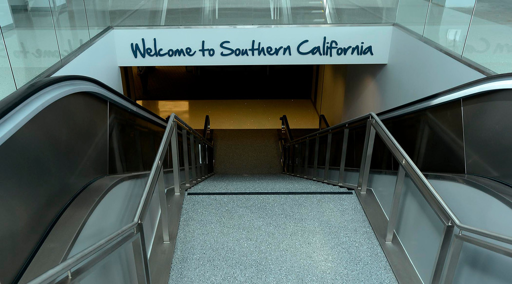 . A welcome sign is ready to greet visitors at the San Bernardino International Airport March 28, 2013.  Built on the former the site of the former Norton Air Force Base, is often described by local officials as one of the East Valley\'s best hopes for economic growth. Norton closed in 1994.  GABRIEL LUIS ACOSTA/STAFF PHOTOGRAPHER.