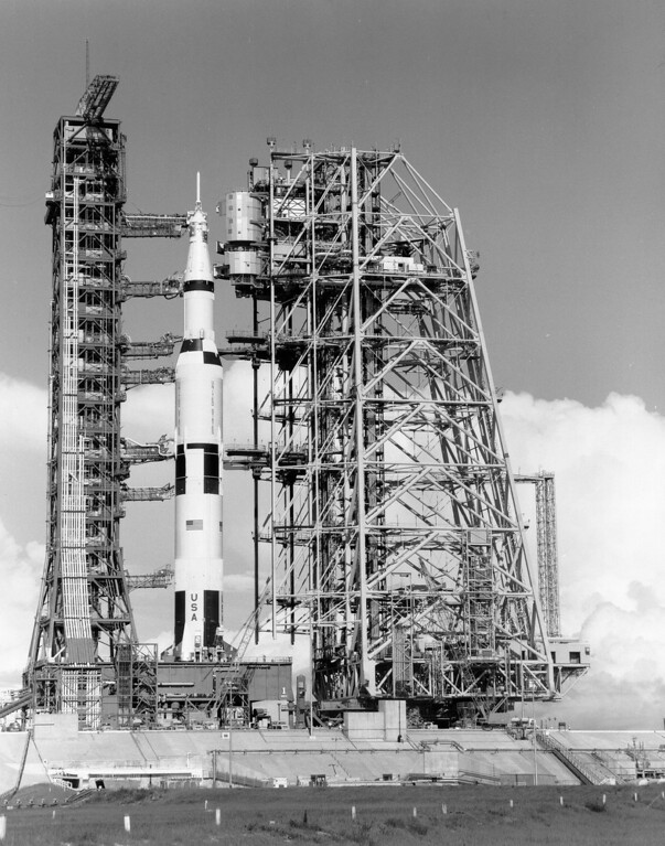 . The Mobile Service Structure approaches the Saturn V on pad 39-A. July 1, 1969. Courtesy of the National Aeronautics and Space Administration, specifically the NASA History Office and Kennedy Space Center.