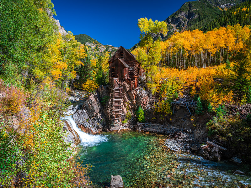 River Guardian 2: Crystal Mill Autumn Aspens: Colorado Autumn Colors Fall Foliage Fine Art Photography