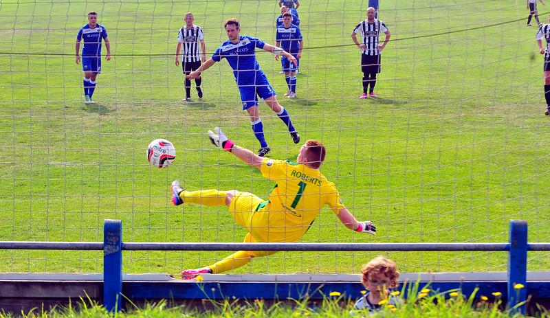 SPORT.... PORT TALBOT V CEFN DRUID SATURDAY 6th SEPTEMBER 2014 ACtion from Port Talbot Town v Cefn Druid. Pictured - Martin Rose scoring from the spot.