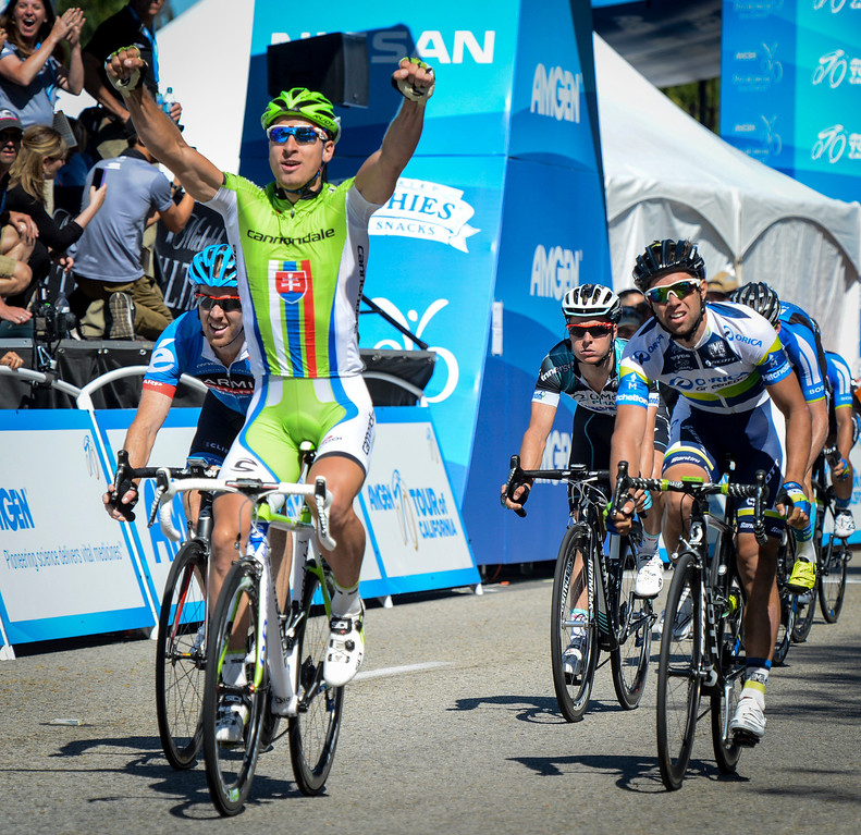 . Peter Sagan, Cannondale, wins Stage 3 of the Amgen Tour of California.  Michael Matthews, Orica-Greenedge took second and Tyler Farrar, Garmin-Sharp, took third in the sprint finish.  Stage 3 started in Palmdale and ended in a sprint finish in Santa Clarita.    Photo by David Crane/Staff Photographer
