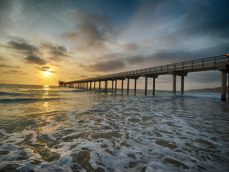Scrips Pier in La Jolla - with the humidity and heat we are getting pretty sunsets.