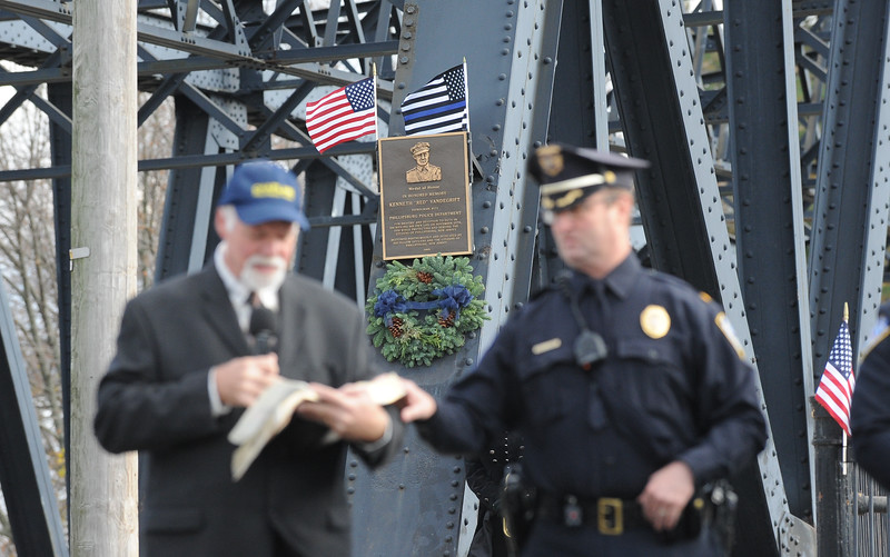 """The Phillipsburg Police Department held a remembrance ceremony honoring fallen officer, Kenneth W. """"Red"""" Vandegrift who died in the line of duty Nov. 20, 1930. The ceremony was at the bridge on South Main Street that bears his name."""