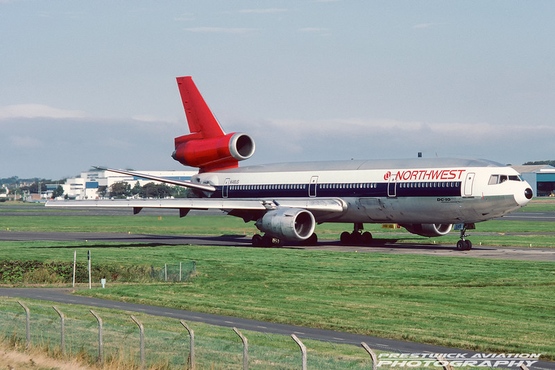 N148US. McDonnell Douglas DC-10-40. Northwest Airlines. Prestwick. September. 1988.