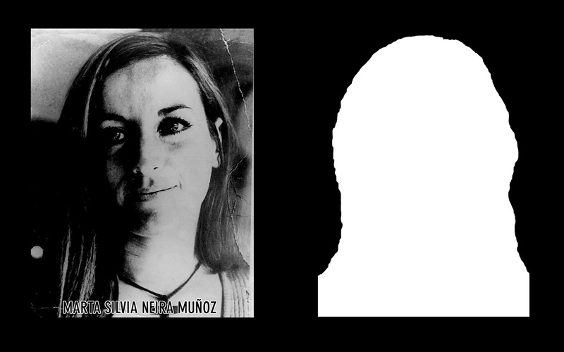 Photograph and silhouette of Marta Silvia Neira Muñoz Marta Silvia Neira Muñoz was 29 years old when she was detained and disappeared on the 9th of October of 1973 by four agents of the DINA (National Intelligence Directorate).  Her partner, César Arturo Negrete Peña, was also detained and disappeared that same day. *Shown here is the detail of the original photograph juxtaposed against its silhouette. (Courtesy Alfredo Jaar Studio) Information about Marta Silvia Neira Muñoz can be found inside the archives of the Museo de Memoria y Derechos Humanos (Museum of Memory and Human Rights).  The information presented here and more can be found online: http://www.memoriamir.cl/pagina/memoria/historias%20breves%20119/Marta%20y%20el%20Flaco%20compa%F1eros%20%28Marta%20Neira%20C%E9sar%20Negrete%29.htm
