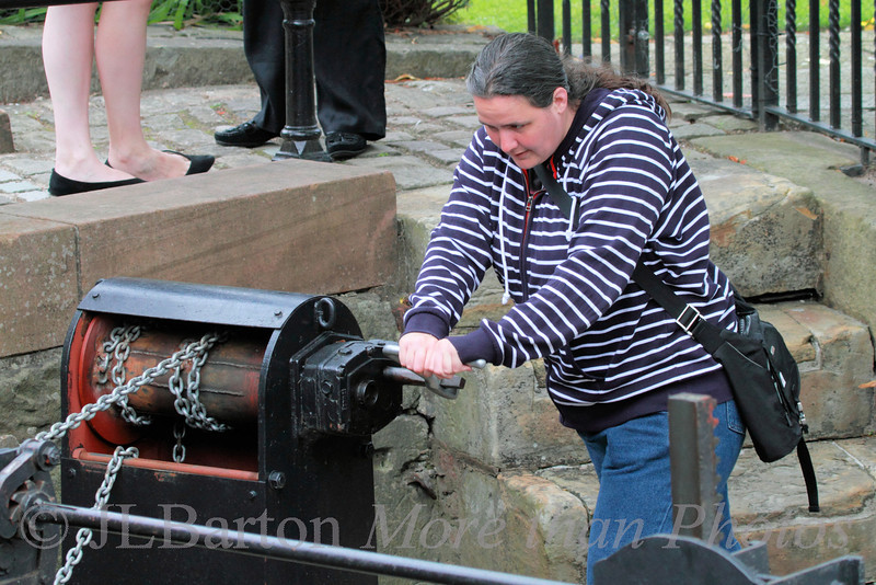 Working the locks in Manchester No room for long gate levers, so the gates are worked (when they work) by chains
