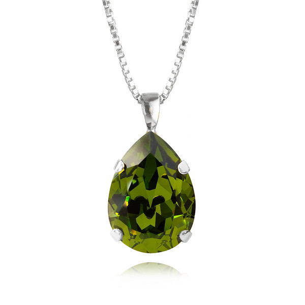 Classic Drop Necklace / Olivine Rhodium