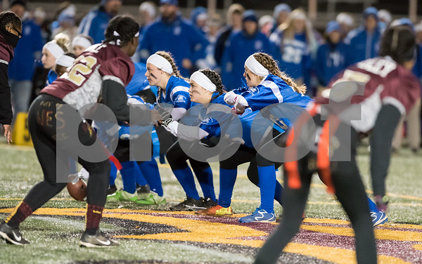 11/22/17 Wesley Bunnell | Staff Southington defeated New Britain in the annual Powder Puff game at Veterans Stadium in New Britain on Wednesday night.
