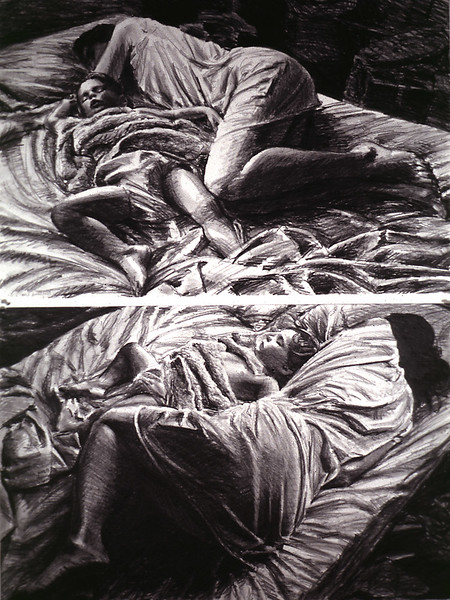 Sleepers - Diptych; graphite, 50 x 38 in, 1987