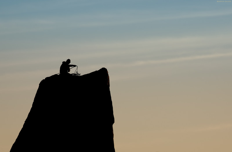 Rock Climber at Sunset...Joshua Tree