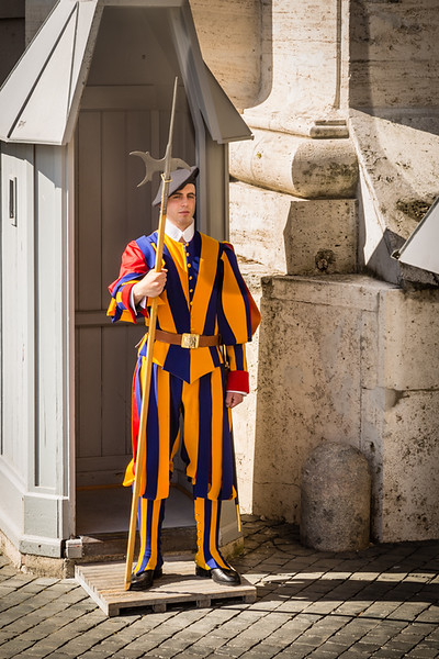 upclose shot of swiss guard in the vatican