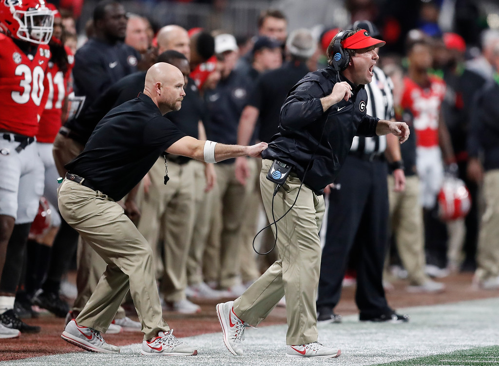 . Georgia head coach Kirby Smart yells during the first half of the NCAA college football playoff championship game against Alabama Monday, Jan. 8, 2018, in Atlanta. (AP Photo/David Goldman)