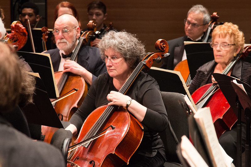 Gillian Nave, center,  (with Nick Heffter, David Zelinsky, and Carol Newman) --Symphony of the Potomac at the Cultural Arts Center, Silver Spring, MD, February 2018.