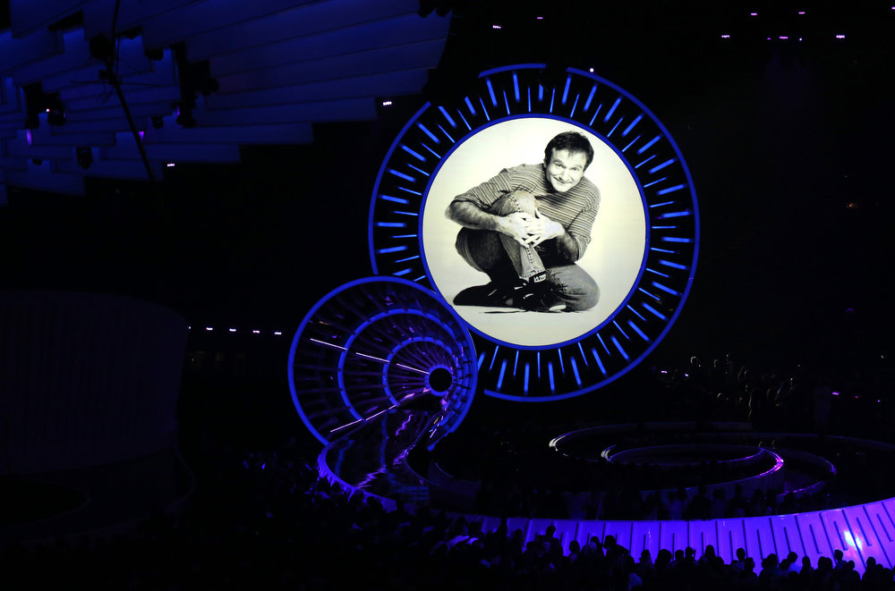 . Robin Williams tribute appears on screen at the MTV Video Music Awards at The Forum on Sunday, Aug. 24, 2014, in Inglewood, Calif. (Photo by Matt Sayles/Invision/AP)
