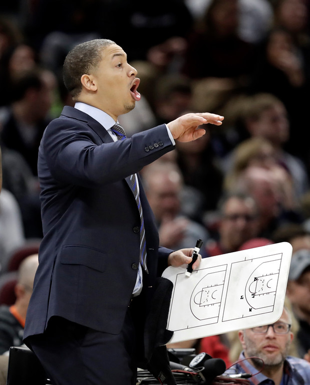 . Cleveland Cavaliers coach Tyronn Lue yells instructions to players during the second half of the team\'s NBA basketball game against the Orlando Magic, Thursday, Jan. 18, 2018, in Cleveland. The Cavaliers won 104-103. (AP Photo/Tony Dejak)