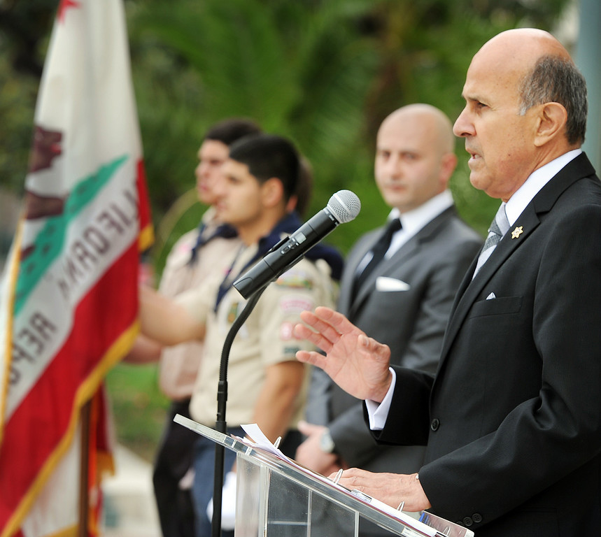 . Sheriff Lee Baca, Los Angeles Sheriff Department spoke about the Armenian Genocide at the American National Committee of America Pasadena Chapter 98th Anniversary Genocide commemoration that was held at Pasadena City Hall Wednesday, April 24, 2013. (SGVN/Photo by Walt Mancini)