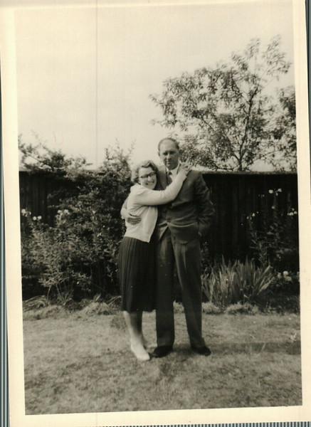 Ellen and Walter in the back garden in Abbey Wood