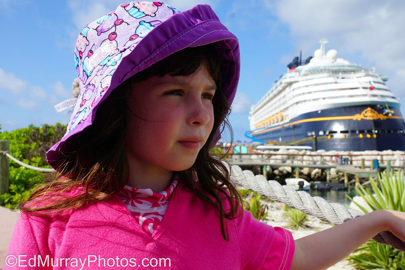She and the Ship: Happy Monday!!! Still trying to play catch up... here's a shot of the girl and the ship while we were at Disney's island in the Bahamas (Cast Away Cay). Have a great week!   4/29/2013