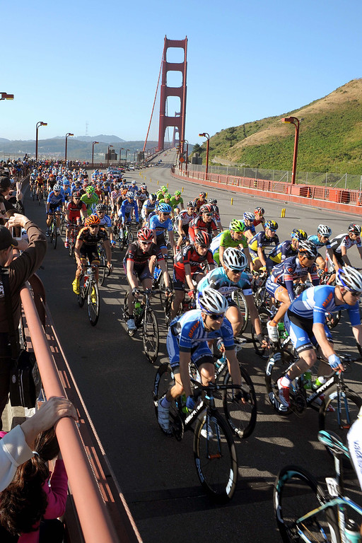 . The racers on the golden gate at the start of the eighth stage. Ben Jacques-Maynes in on the very left at the front of the peloton. (Robert Torre/Special to the Sentinel)