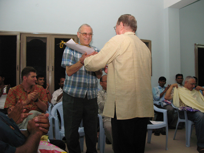 Fr. Martin presents a gift to Fr. Guiseppi (Italy).