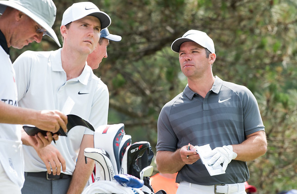 06/24/18 Wesley Bunnell   Staff The final day of The Travelers Championship at TPC River Highlands in Cromwell on Sunday June 24. Russell Henley, L, who finished T6 with a -13 stands on the 5th tee with Paul Casey, R, who finished T2 with a -14.