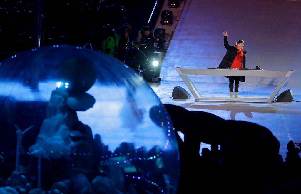 . DJ Martin Garrix, of the Netherlands, performs during the closing ceremony of the 2018 Winter Olympics in Pyeongchang, South Korea, Sunday, Feb. 25, 2018. (AP Photo/Chris Carlson)