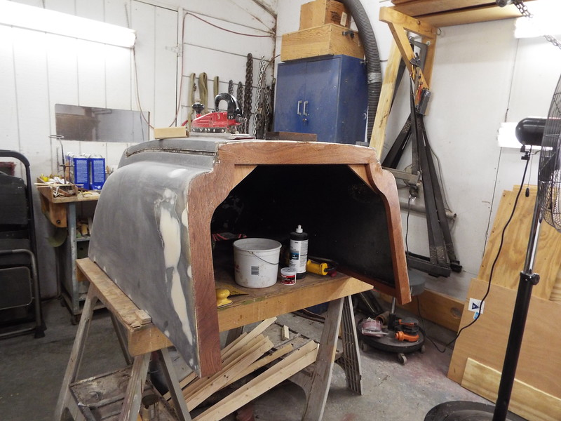 Front of the engine box with epoxy applied to the new wood.