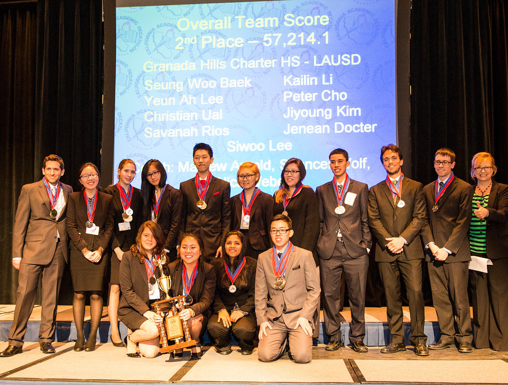 . 2nd Place team of the 35th annual California Academic Decathlon from Granada Hills Charter High School, at the 35th annual California Academic Decathlon in Sacramento, California, U.S., on Sunday, March 23 2014. Ken James/LA Daily News