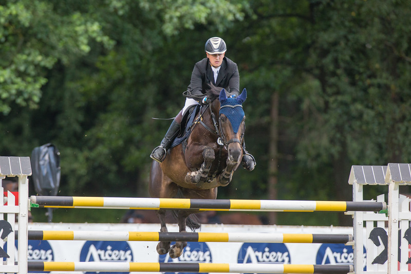 Zigmantas SARKA JR (LTU) with the horse EGEJA, World Cup competition, Grand Prix Riga, CSI2*-W, CSIYH1* - Riga 2016, Latvia