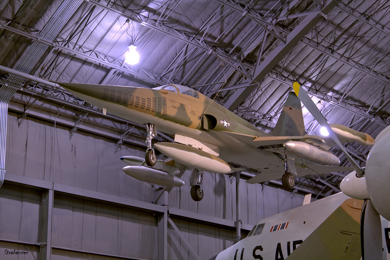 """National Museum of the United States Air Force, Dayton, Ohio,   04/13/2019  Northrop YF-5A-NO Freedom Fighter, C/N: N.6003  59-4989 Painted as a """"Shoski Tiger"""" 64-13332 of the 4503rd Tactical  Fighter Squadron  This work is licensed under a Creative Commons Attribution- NonCommercial 4.0 International License."""