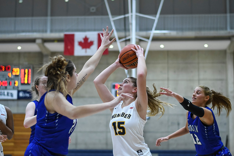 TORONTO, CANADA - Feb 22: during OCAA Women's Basketball Playoffs Crossover Game at University of Toronto. Photo: Michael Fayehun/F10 Sports Photography