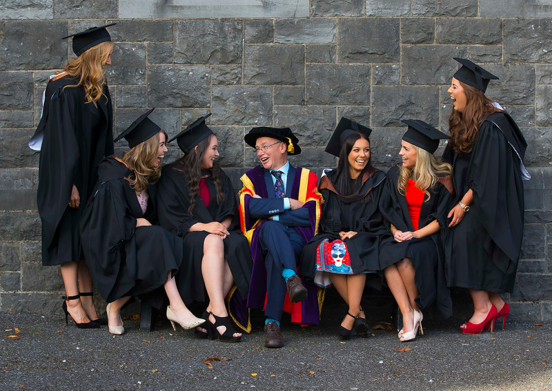 02/11/2016. Waterford Institute of Technology (WIT) Conferring Ceremonies November 2016:   Pictured are Prof. Willie Donnelly, President of WIT with Brid Quinn, Silvermines Co. Tipperary, Aoife Bagnall, Carrigaline, Co. Cork, Laura Colfer, Newbawn, Co. Wexford, Emily Ryan, Waterford, Jennifer Butler from Waterford and Siobhan Ryan from Tipperary Town  who Graduated B.A. (Hons) in Applied Social Studies in Social Care. Picture: Patrick Browne  Graduates of 2016 are well prepared for an exciting work environment with new industries, having completed their studies in an intellectually open, creative and innovative educational community thanks to the multicultural community at WIT. Just over 2,400 students will be conferred with academic degrees up to doctorate level in 11 conferring ceremonies across three days, from Wednesday, 2 November, 2016.