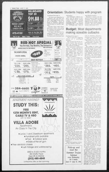 Summer Trojan, Vol. 118, No. 6, June 17, 1992
