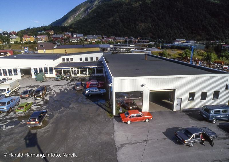 Svebjørn Auto, VW-forhandler, anlegg på Fagernes. Bilde tatt fra lift.