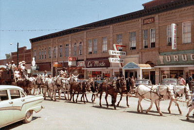 The 20-mule train led by Gene DeHaven was routed through downtown Spearfish, allowing local folks to witness a part of the 1,200 mile trek made by DeHaven and his crew in the summer of 1966.  Return to:  Spearfish History